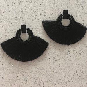 Black Tassle Earrings